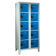 Wardrobe 2 columns 10 compartments monoblock grey blue