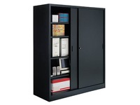High cabinet Jumbo with sliding doors H 200 x W 180 cm large volume black
