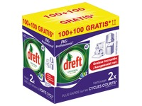 Pack Tablettes vaisselle Dreft original All in 1: 100 tablettes + 100 tablettes offertes